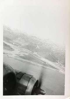 """Caption """"BW-1 Greenland""""; Printed 1956; BW-1 stands for Bluie West One, the Airbase where Wally's crew stopped for rest and refueling on the way back to the United States."""
