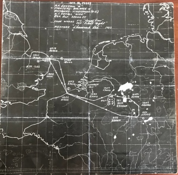 October 18, 1944 Mission Map from Wally's records. The mssion was to Leverkusen targeting a Chemical Works plant.