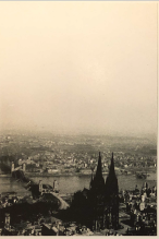 Photo of the Cologne Cathedral that was left standing after V-E Day. It was one of the few structures left standing in Cologne, which was hit was numerous bombing raids. Photo was taken during The Trolley Missions after V-E Day. Found in Wally's records; likely came from Burns.