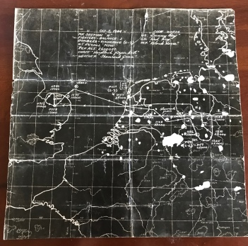 October 5, 1944 Mission Map from Wally's records. The mission was to Lippstadt, Germany targeting an airfield.