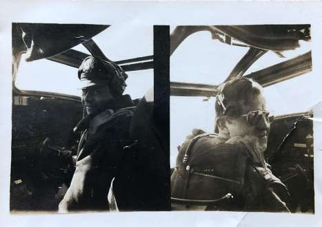 """Caption: """"Emmett Burns."""" This photo was found in Wally's records. Both photos in this wallet-sized, side-by-side appear to be Pilot and Captain Emmett Burns in the cockpit of the crew's B-24."""