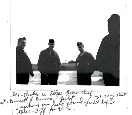 Ground Crew Chief Elledge and Captain Burns visiting on the hard stand before the crew took off for the United States after V-E Day. Elledge used to wait for Wally's crew to return after every mission on the hardstand; he cared deeply for the crew.