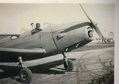 Unknown source; appears to be a pilot in a PT-19, which was used during Primary Training for Aviation Cadets to learn the basics of flying.